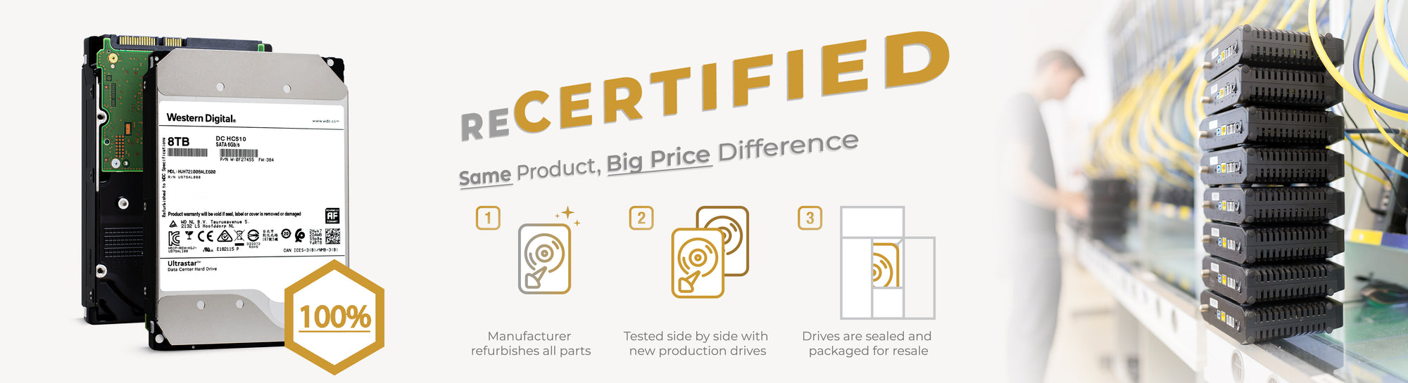 Recertified Enterprise Storage. Same product, big price difference.