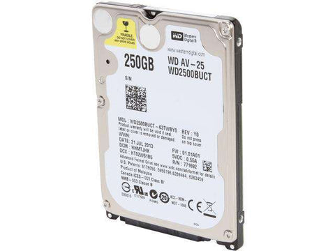 "Western Digital AV-25 WD2500BUCT 250GB 5.4K RPM SATA 3Gb/s 16MB 2.5"" Manufacturer Recertified HDD"
