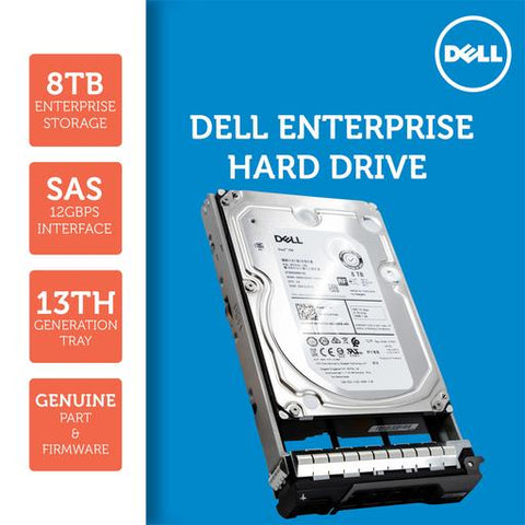 "Dell G13 GKWHP 8TB 7.2K RPM SAS 12Gb/s 512e 3.5"" NearLine Hard Drive"