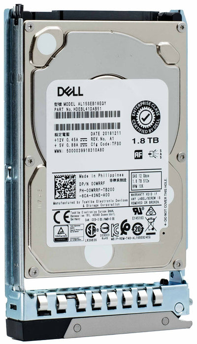 "Dell G14 00WRRF 1.8TB 10K RPM SATA 12Gb/s 512e 2.5"" Hard Drive"