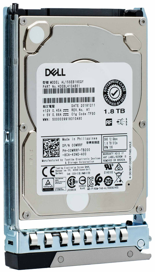 "Dell G14 400-ATJR 1.8TB 10K RPM SAS 12Gb/s 512e 2.5"" Hard Drive"