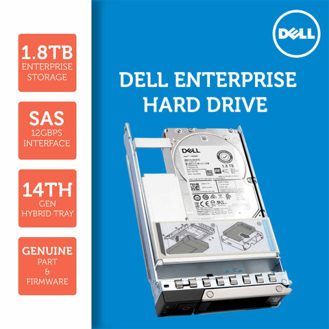 "Dell G14 400-ATJS 1.8TB 10K RPM SAS 12Gb/s 512e 2.5"" to 3.5"" Hybrid Hard Drive"