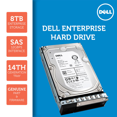"Dell G14 400-ATKR 8TB 7.2K RPM SAS 12Gb/s 512e 3.5"" NearLine Hard Drive"