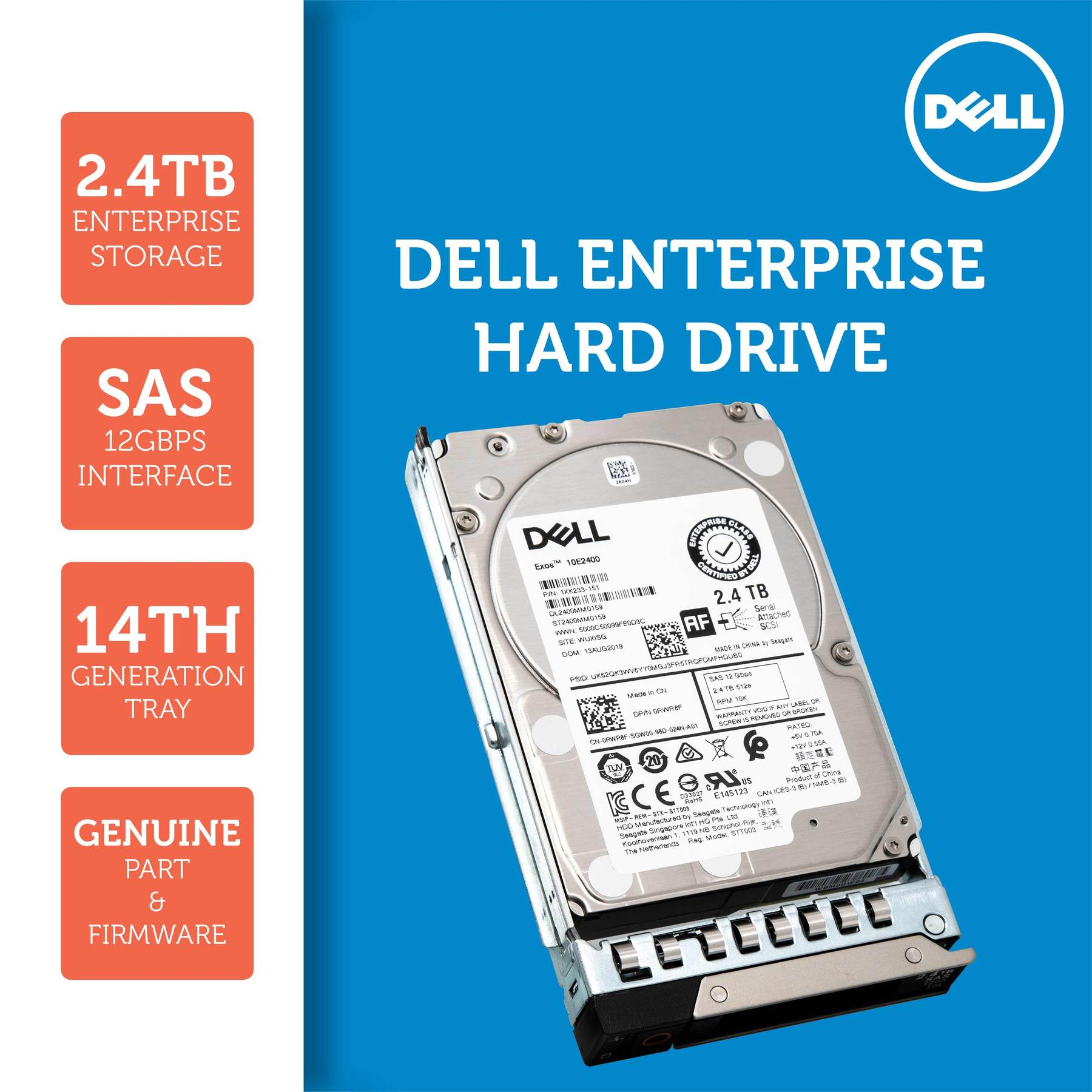 "Dell G14 400-AUTO 2.4TB 10K RPM SAS 12Gb/s 512e 2.5"" Hard Drive"