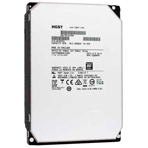 Western Digital Ultrastar He8 HUH728080ALE604 0F25721 8TB 7.2K RPM SATA 6Gb/s 512e SE 3.5in Refurbished HDD