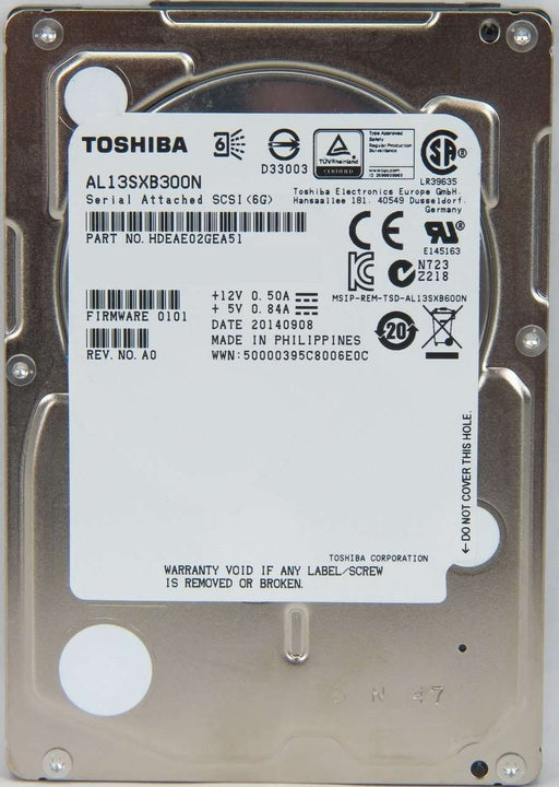 "Toshiba AL13SX AL13SXB300N 300GB 15K RPM SAS 6Gb/s 512n 64MB 2.5"" Manufacturer Recertified HDD"