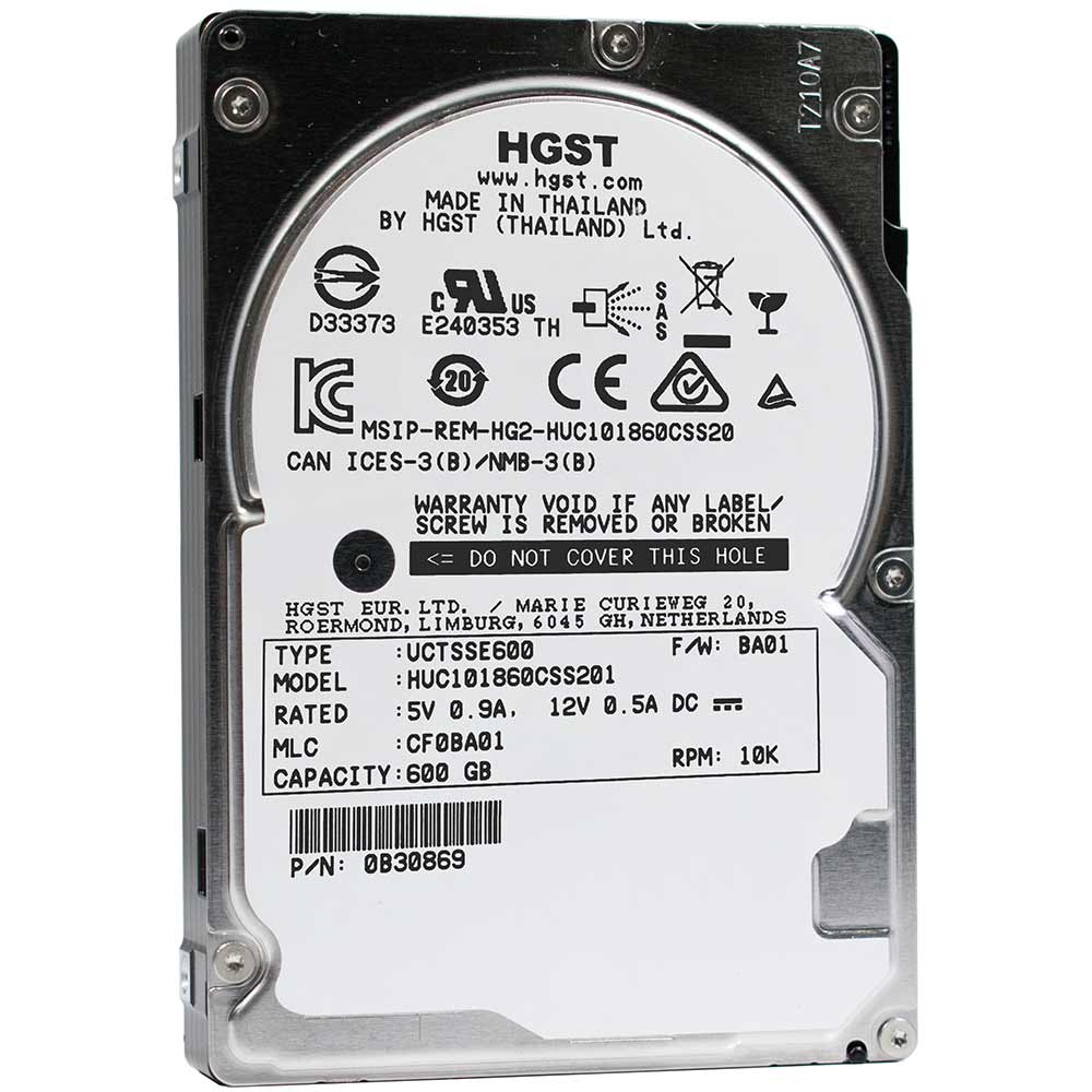 "HGST Ultrastar C10K1800 HUC101860CSS201 0B30869 600GB 10K RPM SAS 12Gb/s 512n 128MB 2.5"" TCG Manufacturer Recertified HDD"