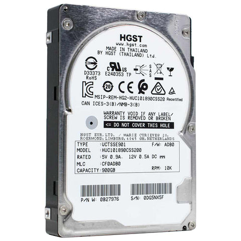 "HGST Ultrastar C10K1800 HUC101890CSS200 0B27976 900GB 10K RPM SAS 12Gb/s 512n 128MB 2.5"" ISE HDD"
