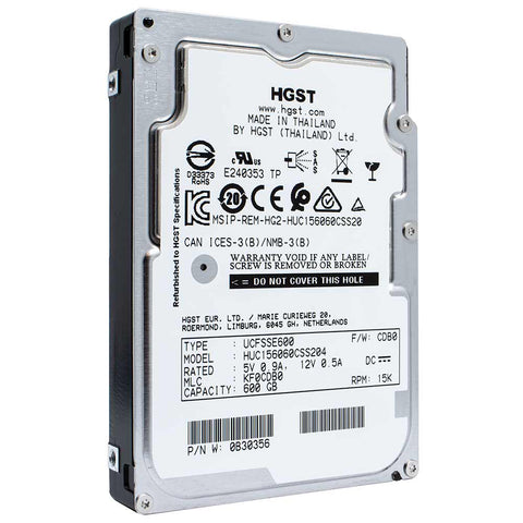 "HGST Ultrastar C15K600 HUC156060CSS204 0B30356 600GB 15K RPM SAS 12Gb/s 512n 128MB 2.5"" SE Manufacturer Recertified HDD"