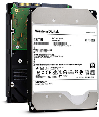 "WD Ultrastar DC HC510 0F27455 HUH721008ALE600 8TB 7.2K RPM SATA 6Gb/s 512e 256MB Cache 3.5"" ISE Power Disable Pin Manufacturer Recertified HDD"