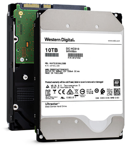"Western Digital Ultrastar DC HC510 HUH721010ALE600 0F27452 10TB 7.2K RPM SATA 6Gb/s 512e 256MB 3.5"" ISE Power Disable Pin Hard Drive"