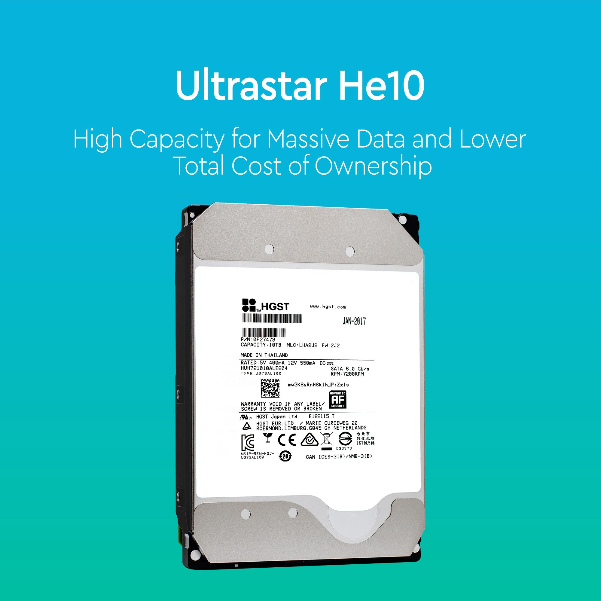 "HGST Ultrastar He10 0F27473 HUH721010ALE604 10TB 7.2K RPM SATA 6Gb/s 512e 256MB Cache 3.5"" SE Power Disable Pin Hard Drive"