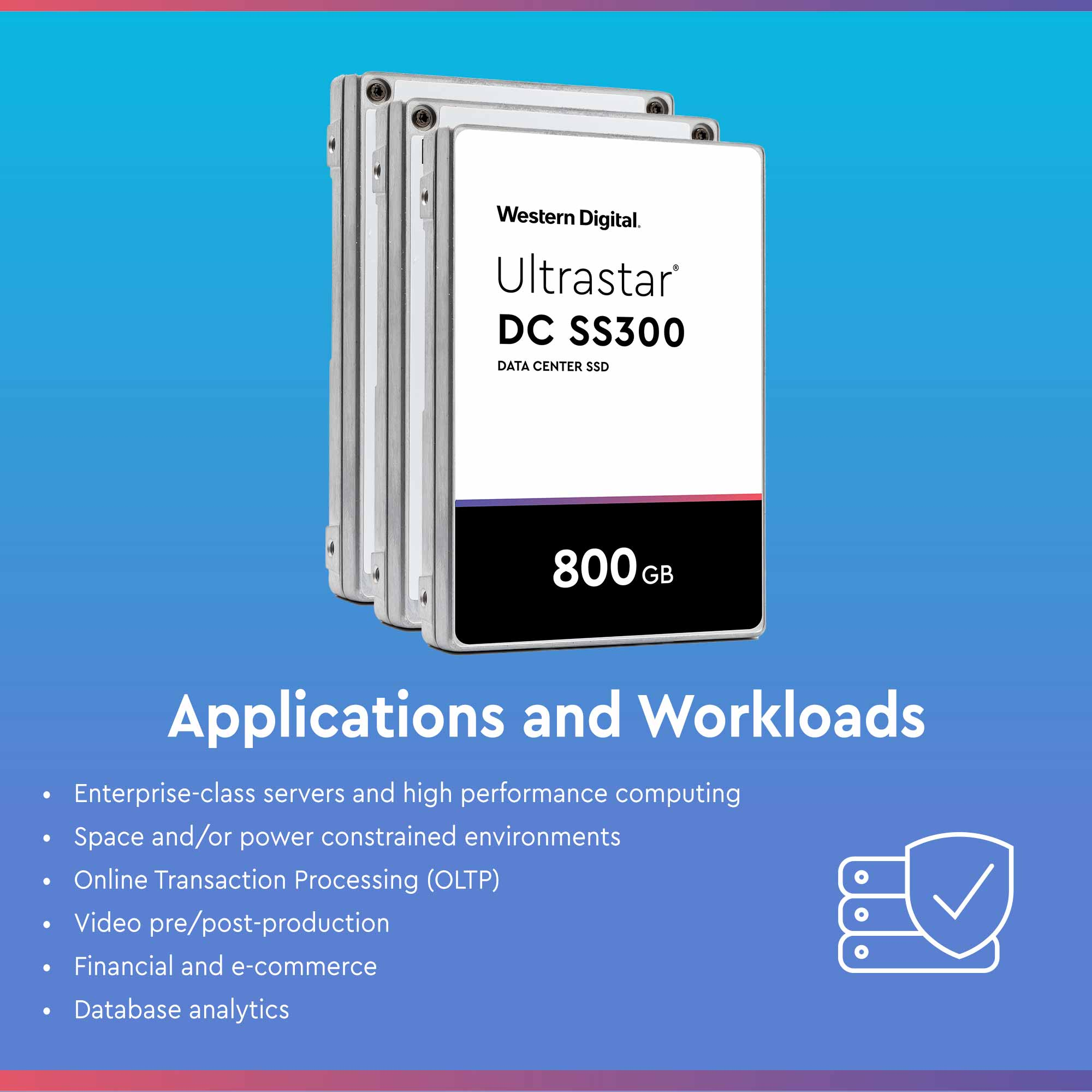 Western Digital DC SS300 HUSMM3280ASS204 800GB SAS 12Gb/s 512e 2.5in Refurbished SSD - Applications and Workloads