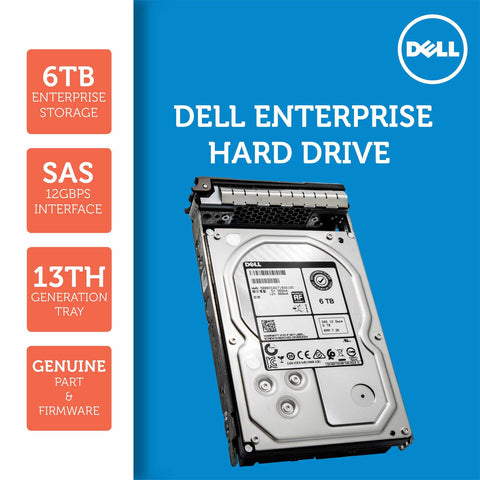 "Dell G13 400-ALCR 6TB 7.2K RPM SAS 12Gb/s 512e 3.5"" NearLine Hard Drive"