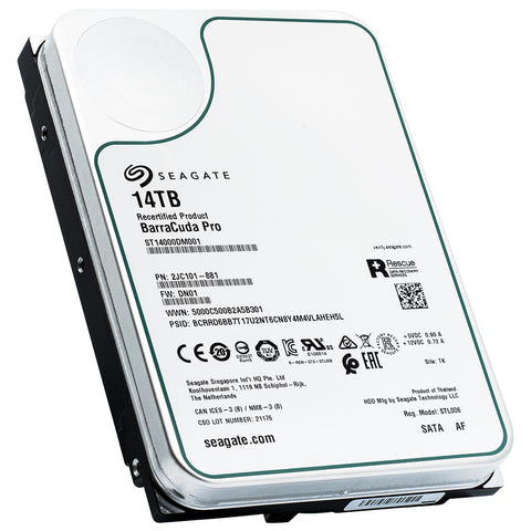 Seagate BarraCuda Pro ST14000DM001 14TB 7.2K RPM SATA 6Gb/s 512e 3.5in Recertified Hard Drive - Product Image