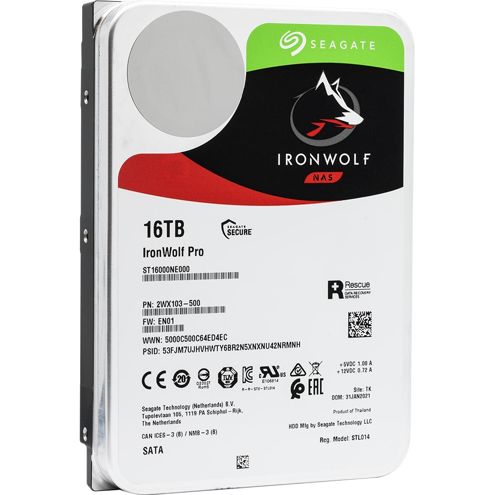 Seagate IronWolf Pro ST16000NE000 16TB 7.2K RPM SATA 6Gb/s 512e 3.5in Refurbished HDD - Product Image