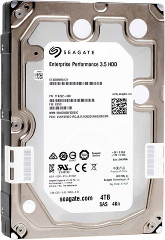 "Seagate Enterprise Performance ST4000NM0131 4TB 10K RPM SAS 12Gb/s 4Kn 3.5"" SED-FIPS Hard Drive"