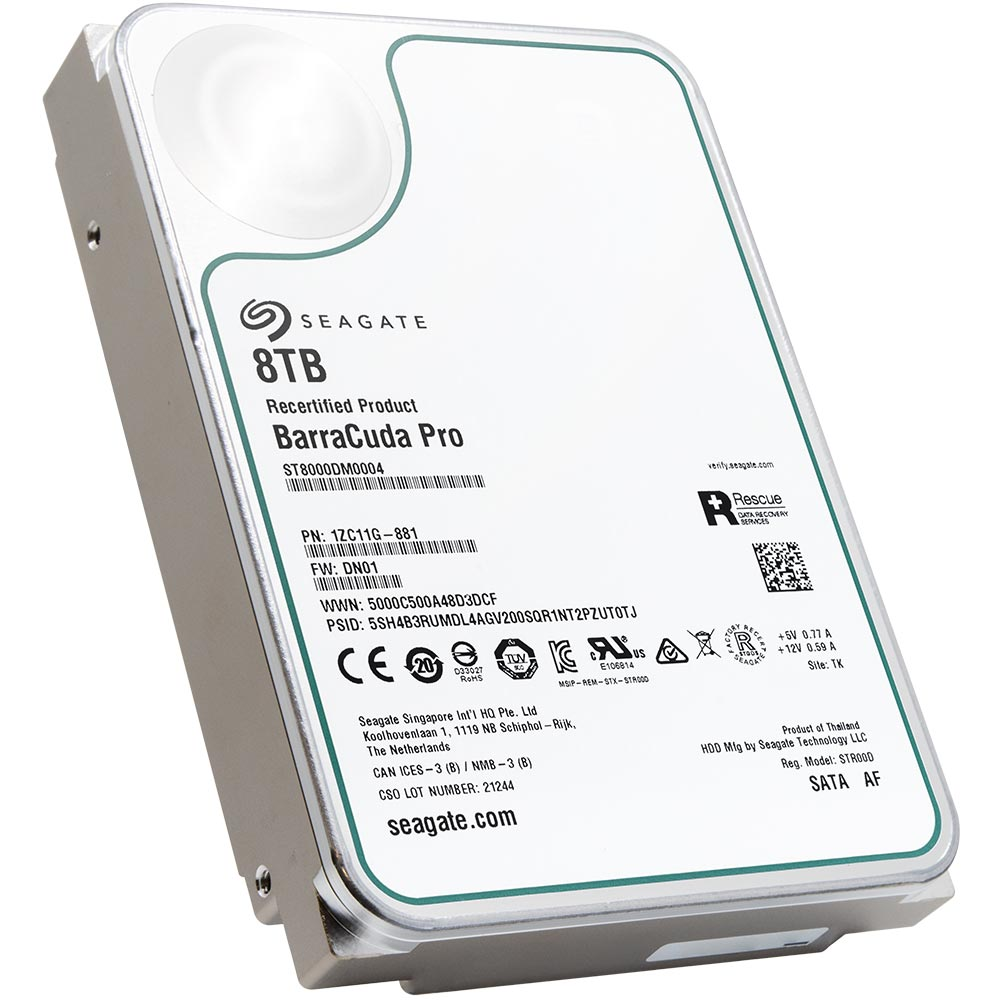 Seagate BarraCuda Pro ST8000DM0004 8TB 7.2K RPM SATA 6Gb/s 512e 3.5in Recertified Hard Drive - Product Image