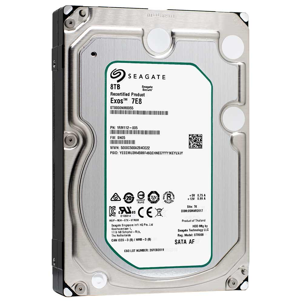 "Seagate Enterprise Capacity ST8000NM0055 8TB 7.2K RPM SATA 6Gb/s 256MB 3.5"" Manufacturer Recertified HDD - Product Image"