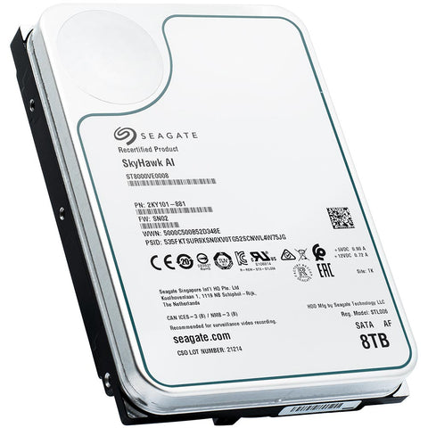 Seagate Skyhawk Surveillance ST8000VE0008 8TB 7.2K RPM SATA 6Gb/s 512e 3.5in Recertified Hard Drive - Product Image