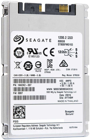 "Seagate 1200.2 ST800FM0193 800GB SAS 12Gb/s 1.8"" SED Solid State Drive"