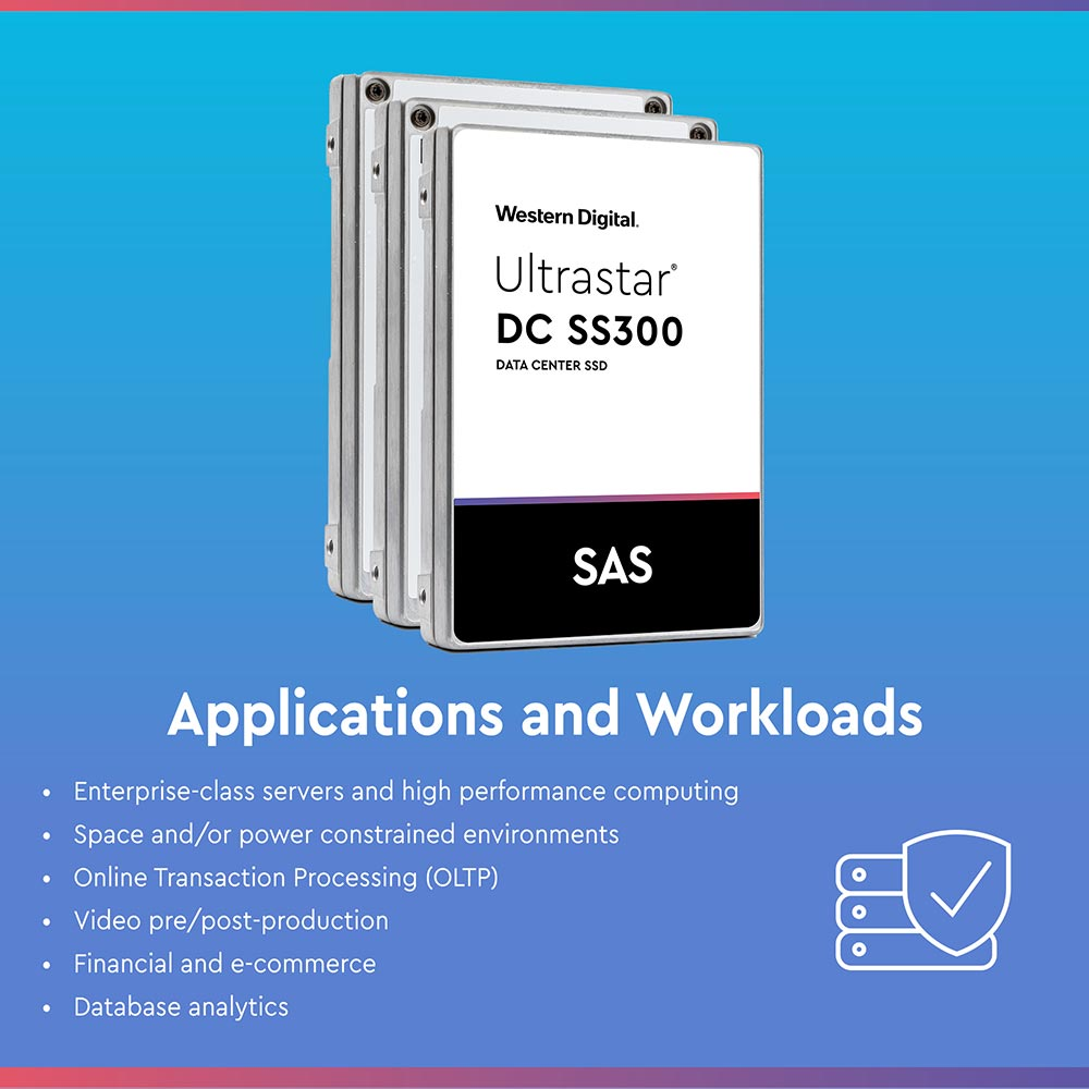 Western Digital Ultrastar DC SS300 HUSTR7676ASS200 7.68TB SAS 12Gb/s Read Intensive ISE 2.5in Solid State Drive - Applications and Workloads