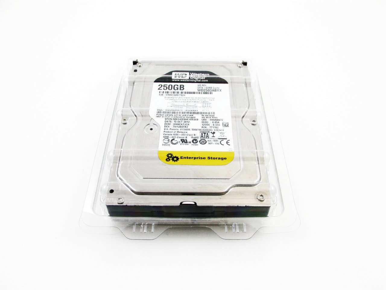 "Western Digital Re4 WD2503ABYX 250GB 7.2K RPM SATA 64MB 3.5"" Manufacturer Recertified HDD"