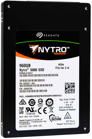 "Seagate Nytro 5000 XP960LE10012 960GB PCIe Gen3.0 x4 4GB/s 2.5"" SED Read Intensive Solid State Drive"