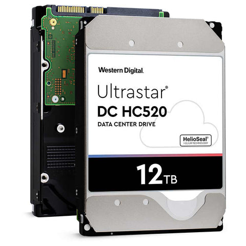 Western Digital Ultrastar DC HC520 HUH721212ALE604 0F29597 12TB 7.2K RPM SATA 6Gb/s 512e SE Power Disable Pin 3.5in Hard Drive