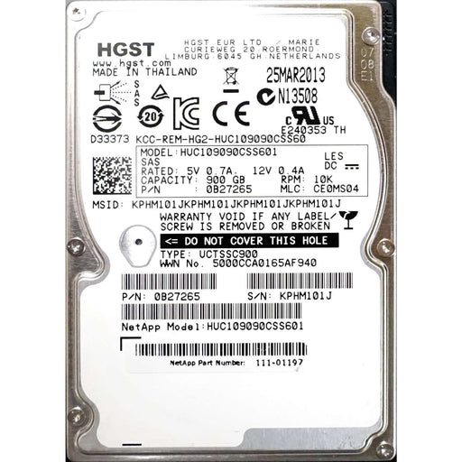 "HGST Ultrastar C10K900 HUC109090CSS601 0B27257 900GB 10K RPM SAS-6Gb/s 2.5"" 64MB TCG Manufacturer Recertified HDD"