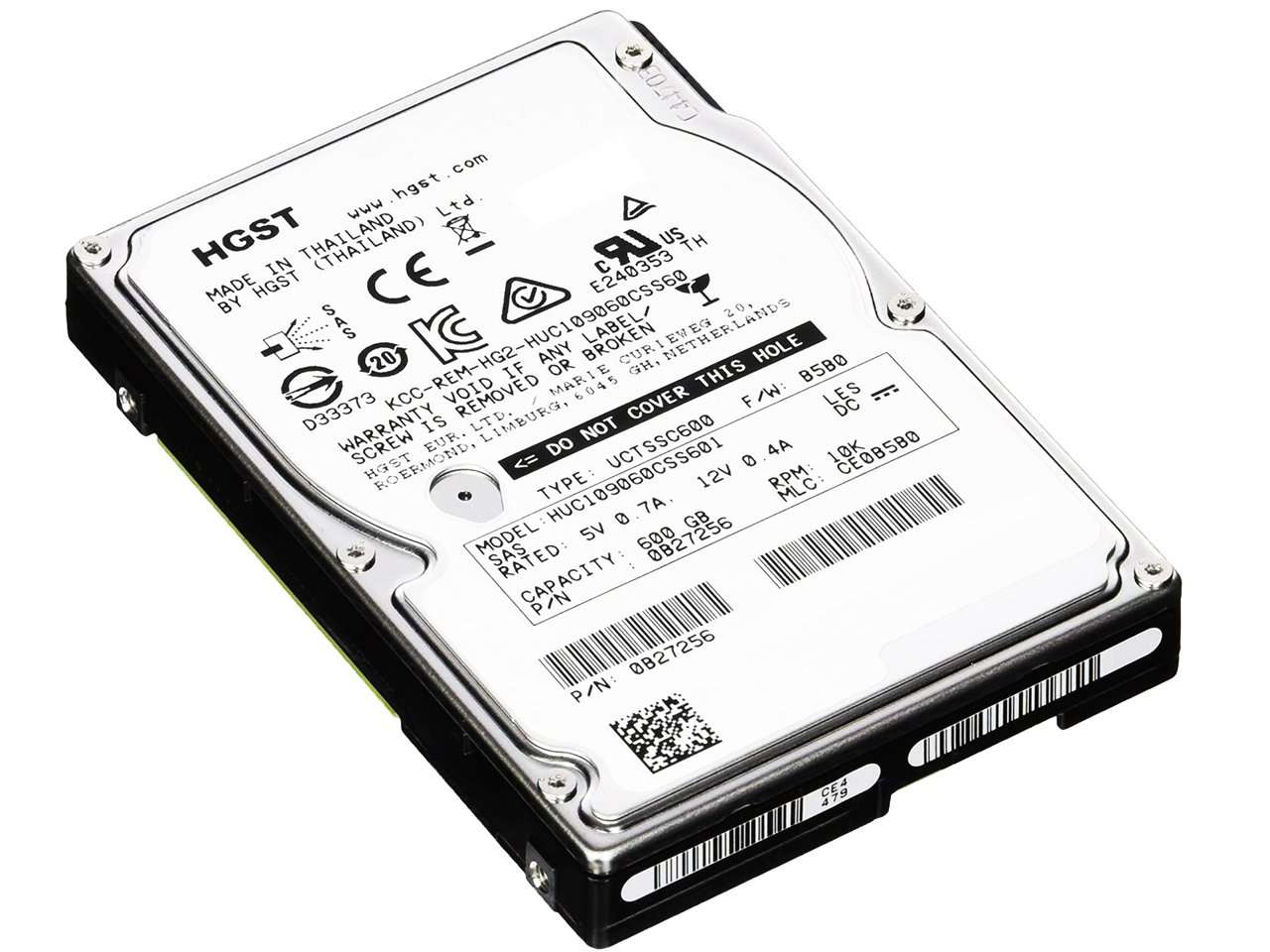 "HGST Ultrastar C10K900 HUC109060CSS601 600GB 10K RPM SAS-6Gb/s 2.5"" Manufacturer Recertified HDD"