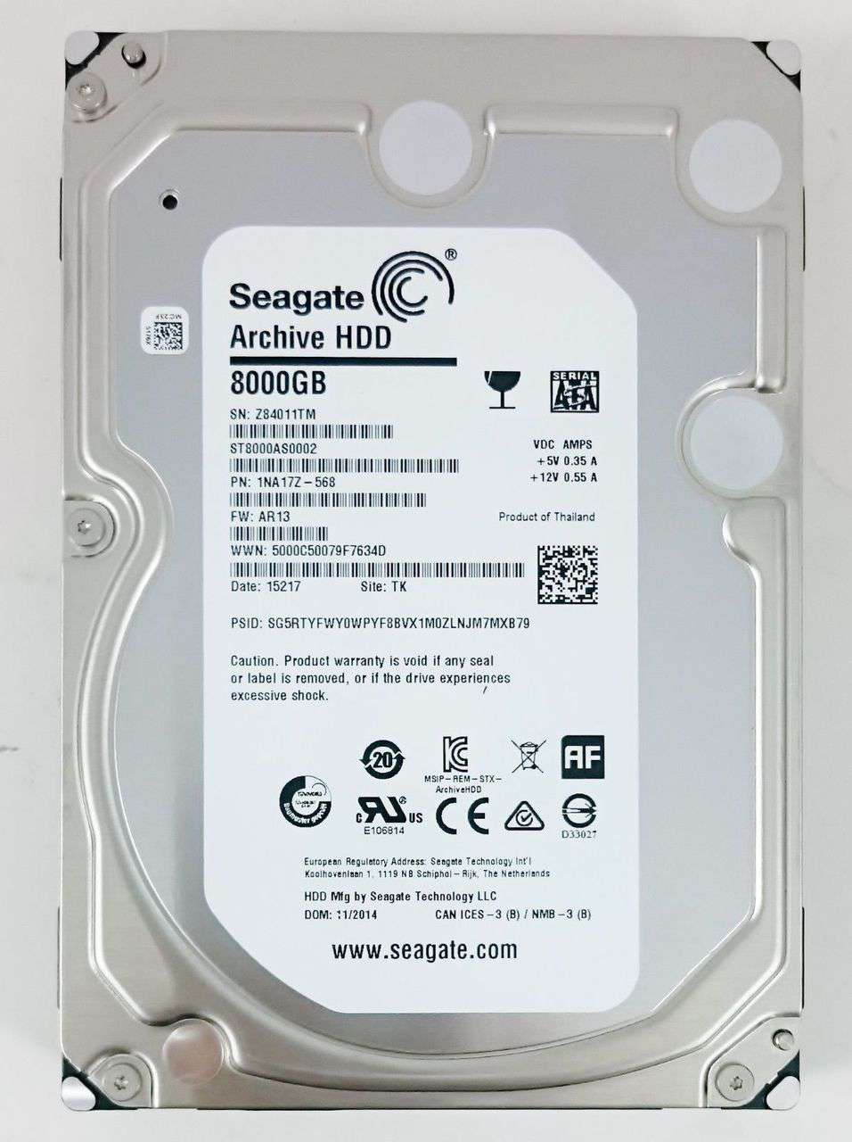 "Seagate Archive HDD ST8000AS0002 8TB 5.9K RPM SATA-6Gb/s 128MB 3.5"" HDD"