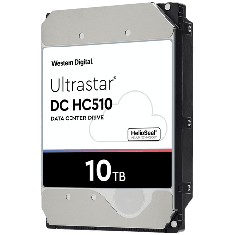 "Western Digital Ultrastar DC HC510 0F27454 HUH721010ALE604 10TB 7.2K RPM SATA 6Gb/s 512e 256MB Cache 3.5"" SE Power Disable Pin Hard Drive"