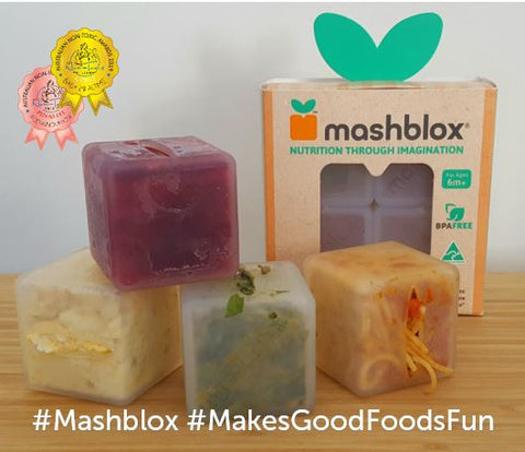 Mashblox infant self-feeding blox with frozen raspberries, scrambled egg, mashed avocado and spaghetti bolognaise. Displayed with Non-Toxic awards badges baby mealtime (gold), and eco-innovation (semifinalist)