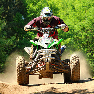 wearing quad bike atv gear