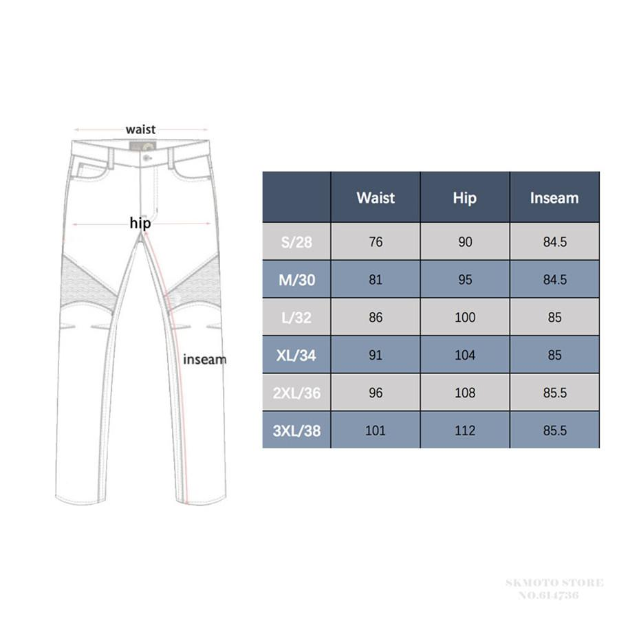 motorcycle riding jeans size chart