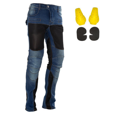 MR TEA Motorbike Armored Jeans | Blue / Black Motorcycle Jeans