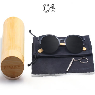 Corry Round Bamboo Sunglasses