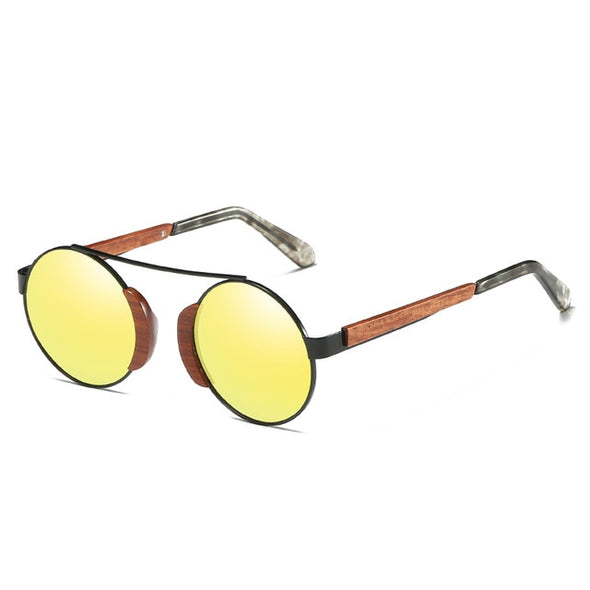 Round Retro Bamboo Sunglasses