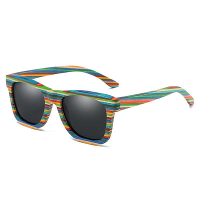 Athena Striped Wood Sunglasses