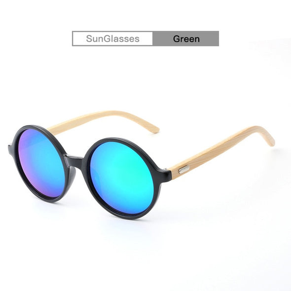 Mandy Bamboo Round Sunglasses