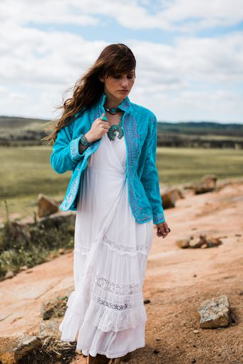 Savannah Embroidered Velvet Jacket - Bluebird