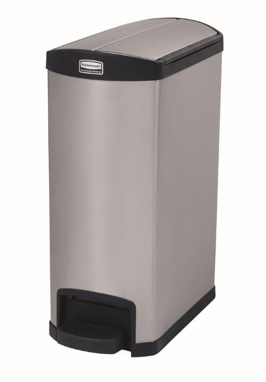 Rubbermaid Stainless Steel and Black Slim Jim End Step-On,Rubbermaid Bin,Rubbermaid