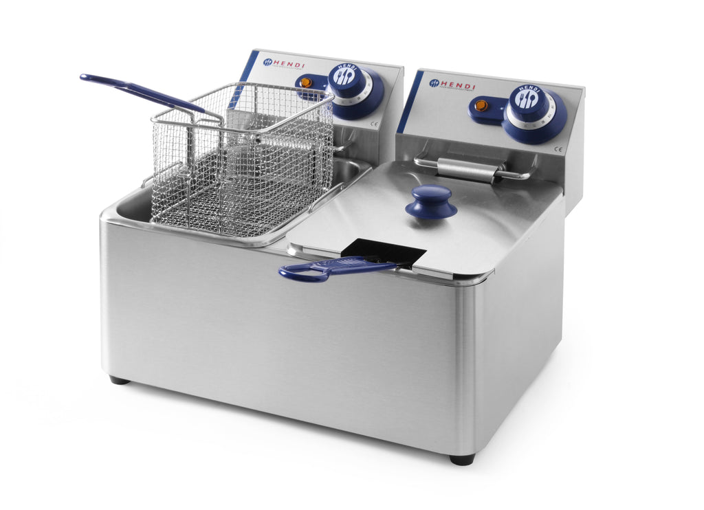 Hendi - Electric Double Table Top Fryer Blue Line -2x  4 Litre,Electric Table Top Fryer,Hendi