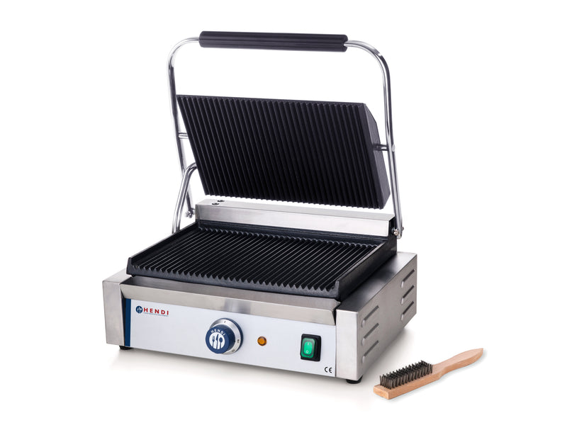 Hendi - Single Large Ribbed Top & Bottom Contact Grill,Contact Grill,Hendi