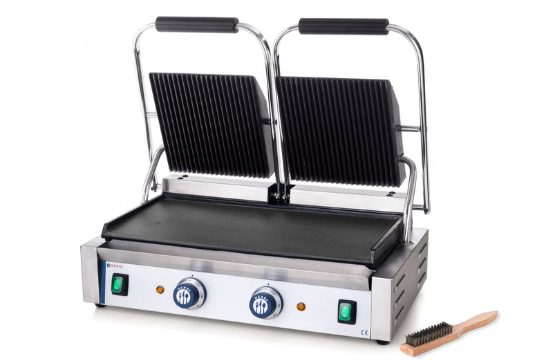 Hendi - Double Ribbed Top & Smooth Bottom Contact Grill,Contact Grill,Hendi