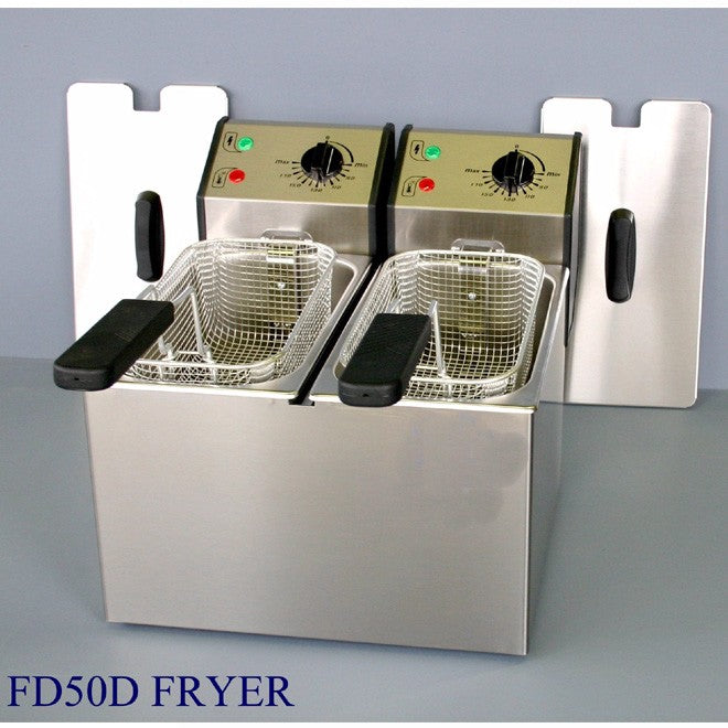Roller Grill FD50D Electric Double Pan Fryer 355W x 420D x 320H (mm) 2 x 2kW,Fryers - Electric,Roller Grill