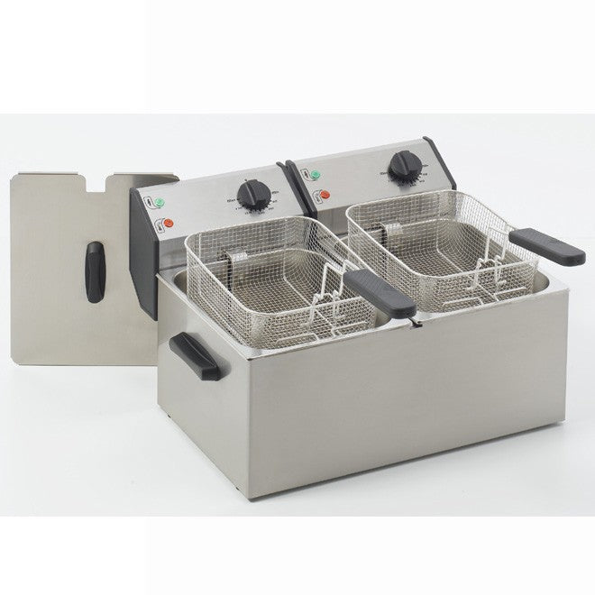 Roller Grill FD80D 8L Electric Double Pan Fryer 570W x 420D x 320H (mm) 2 x 3kW,Fryers - Electric,Roller Grill