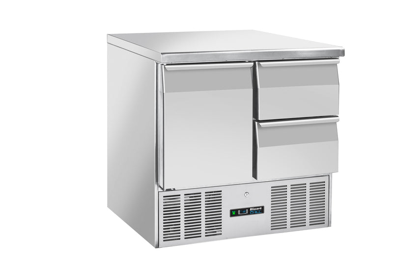 Blizzard Compact Gastronorm Refrigerated Counter With Draws & Door - 214 Litre,Counter Refrigeration With Draws,Blizzard