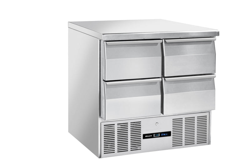 Blizzard Compact Gastronorm Refrigerated Counter With Draws - 214 Litre,Counter Refrigeration With Draws,Blizzard